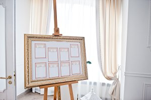 Wedding seating chart on the easel a
