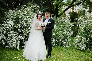 Elegant wedding couple in love backg