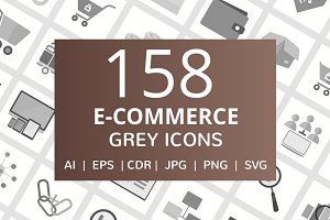 158 E-Commerce Greyscale Icons