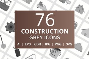 76 Construction Greyscale Icons