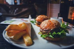 Burgers on a plate