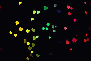 Colorful bokeh lights heart decorati
