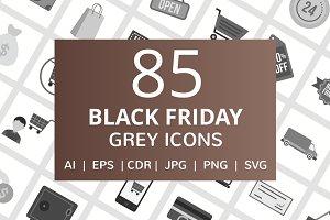 85 Black Friday Greyscale Icons