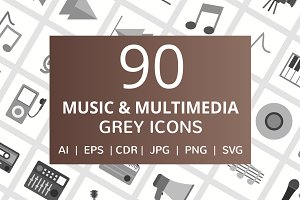 90 Music & Multimedia Greyscale Icon