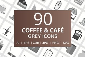90 Coffee & Cafe Greyscale Icons