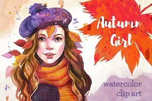 Autumn girl watercolor clip art