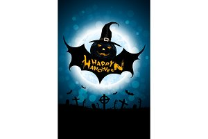 Halloween Background with Bat