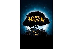 Halloween Illustration with Tree