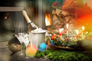 Champagne glasses fireplace Candleli