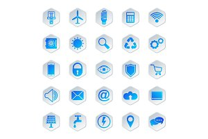 Vector icons for automated house