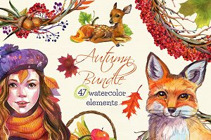 Autumn ClipArt Bundle watercolor