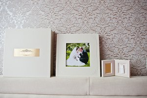 Luxury white classic leather wedding