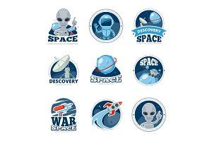 Space labels collection. Badges