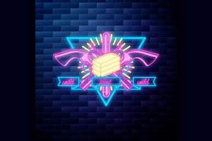 Vntage wild west emblem glowing neon