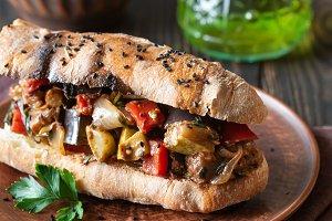 Sandwich with ratatouille