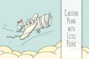 Cartoon Plane with little People