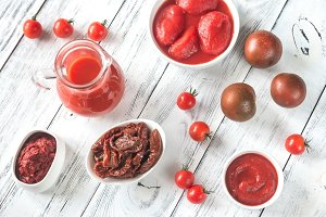 Assortment of tomato products
