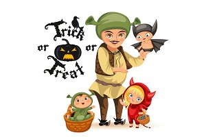 Cartoon father and kids in Halloween