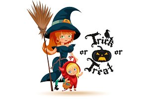 All Hallows Eve mom witch kid devil