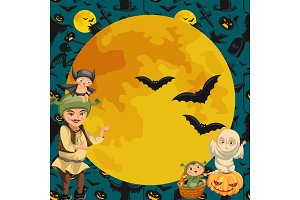 Cartoon family Halloween poster