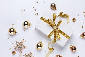 Christmas flat lay scene with golden