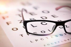 Eyeglasses on optometric chart
