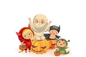 Funny children in Haloween dresses