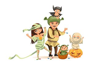 Cartoon family celebrating Halloween