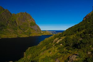 Landscape with Agvatnet lake near A