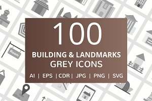 100 Building & Landmarks Grey Icons