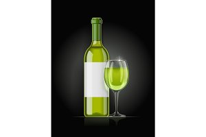 White wine bottle and wineglass.