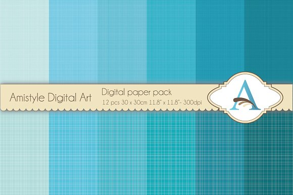 Linen-Caribbean Blues-Digital Papers