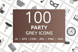 100 Party Greyscale Icons