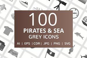 100 Pirate & Sea Greyscale Icons