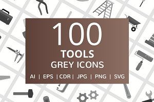 100 Tools Greyscale Icons