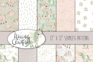 Unicorn pattern seamless