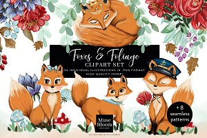 Foxes Foliage Illustrations Patterns