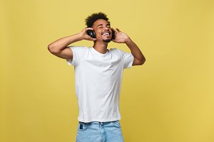 Young black man listening to music