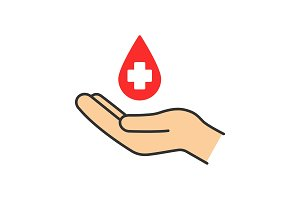 Blood donation color icon