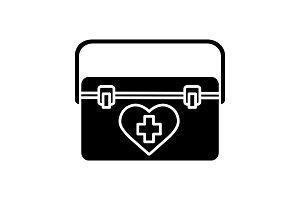 Organ transplant case glyph icon