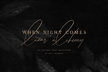 When Night Comes Font Collection by  in Script Fonts