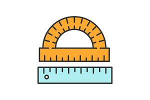 Protractor and ruler color icon