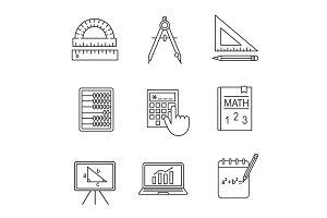 Mathematics linear icons set