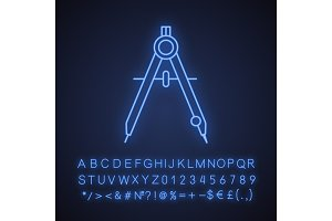 Drawing compass neon light icon