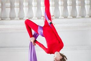 Young attractive air gymnast