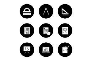 Mathematics glyph icons set