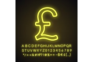 Pound neon light icon