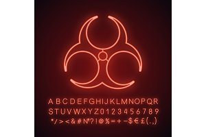Biohazard danger neon light icon