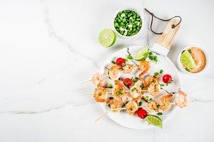 Shrimp skewer kebabs