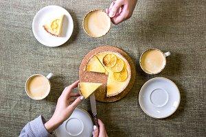 Lemon tart on the family table